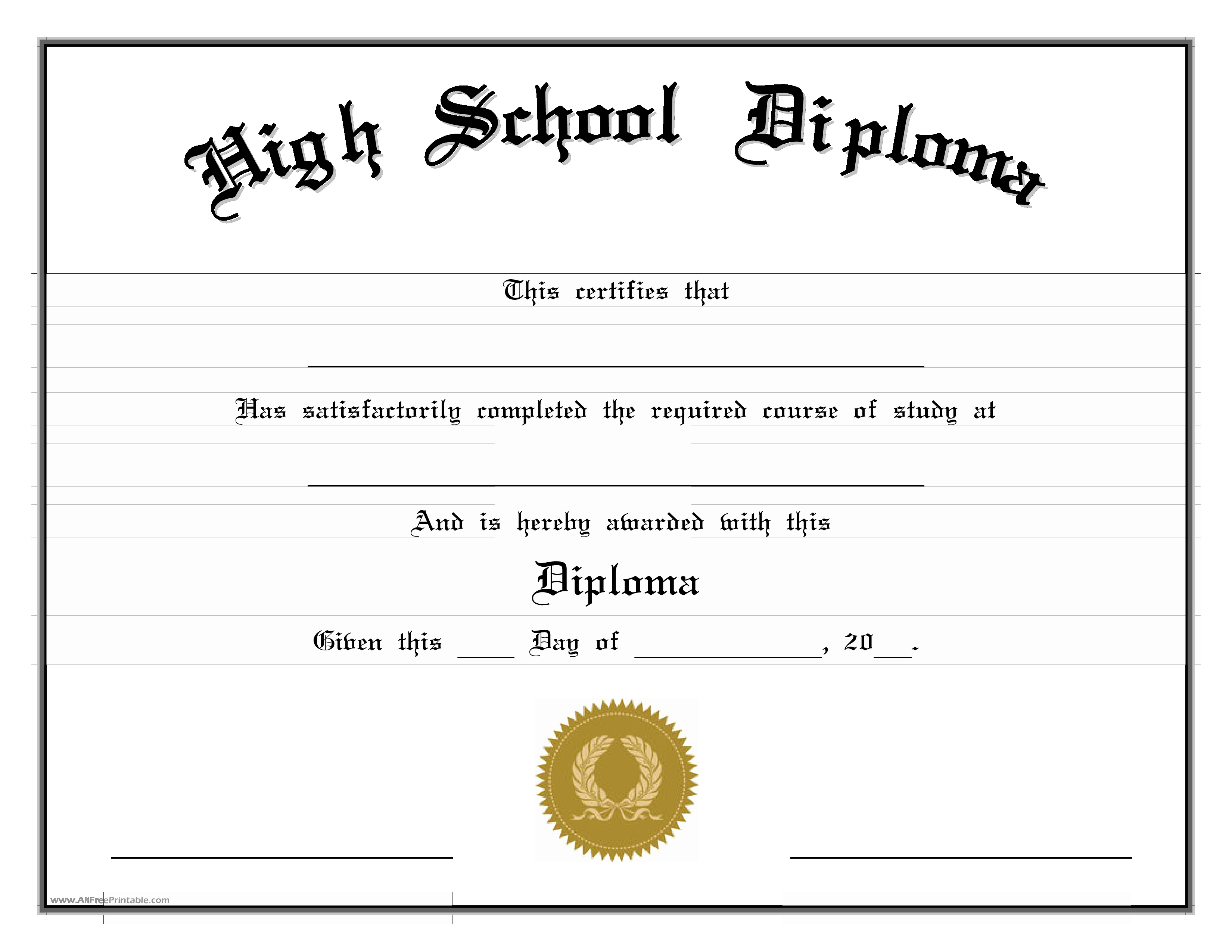 College Diploma Template Pdf Fresh High School Diploma Edit Cert Highs 2 Pdf Easy to