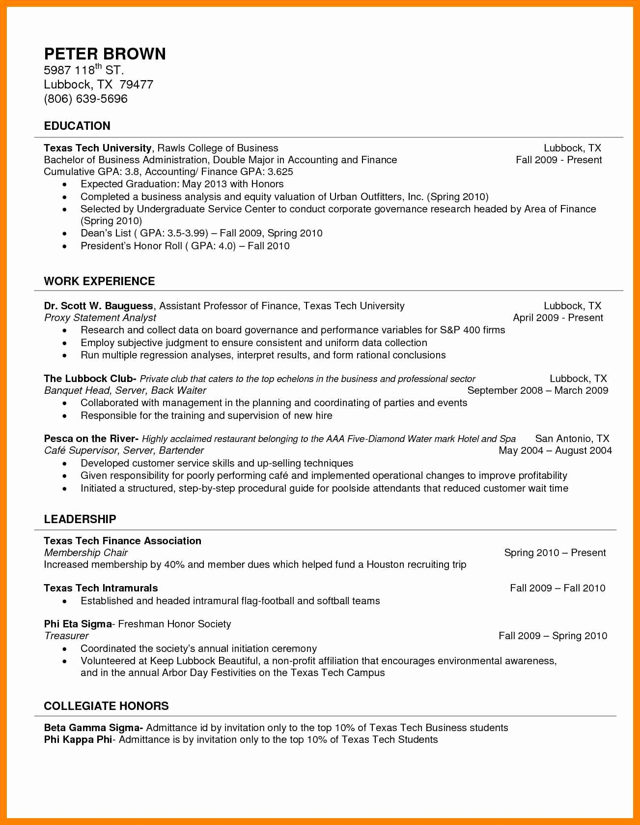 College Freshman Resume Template Awesome 11 Freshman College Resume