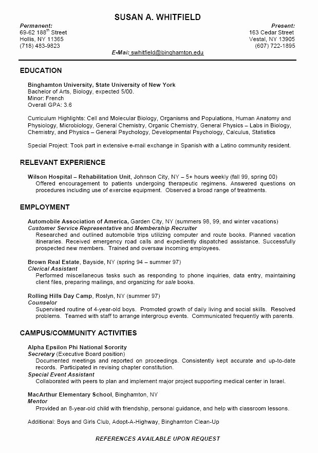 College Freshman Resume Template Beautiful College Resume format for High School Students