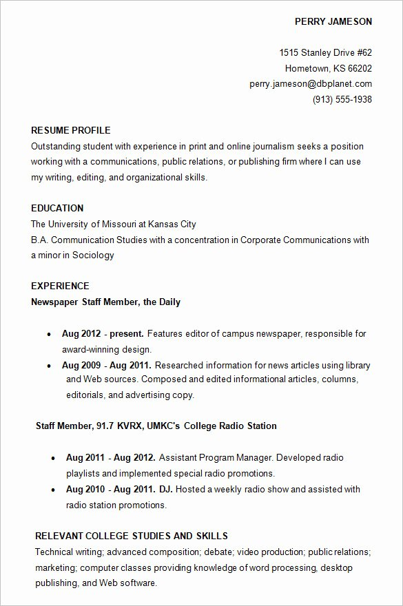 College Freshman Resume Template Elegant 10 College Resume Template Sample Examples