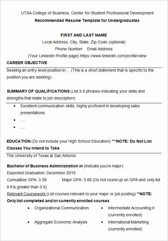 College Freshman Resume Template Fresh 10 College Resume Template Sample Examples