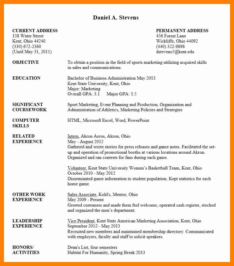 College Freshman Resume Template Fresh Cv for Undergraduate Students Undergraduate Student Resume