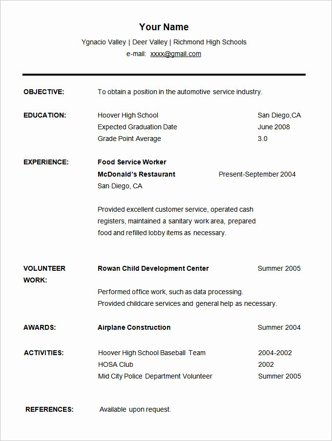 College Freshman Resume Template Inspirational 36 Student Resume Templates Pdf Doc
