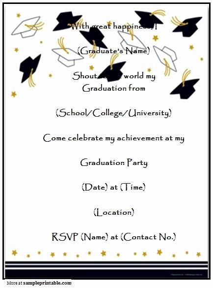 College Graduation Announcement Template Best Of Graduation Party Invitation Templates Free Printable