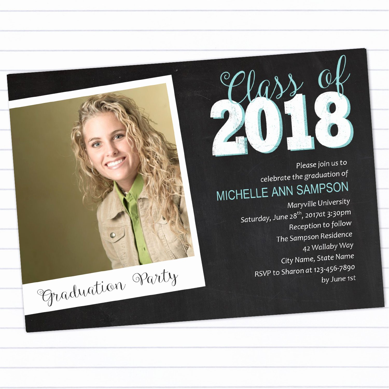 College Graduation Announcement Template Luxury Modern Chalkboard Graduation Party Invitation Template