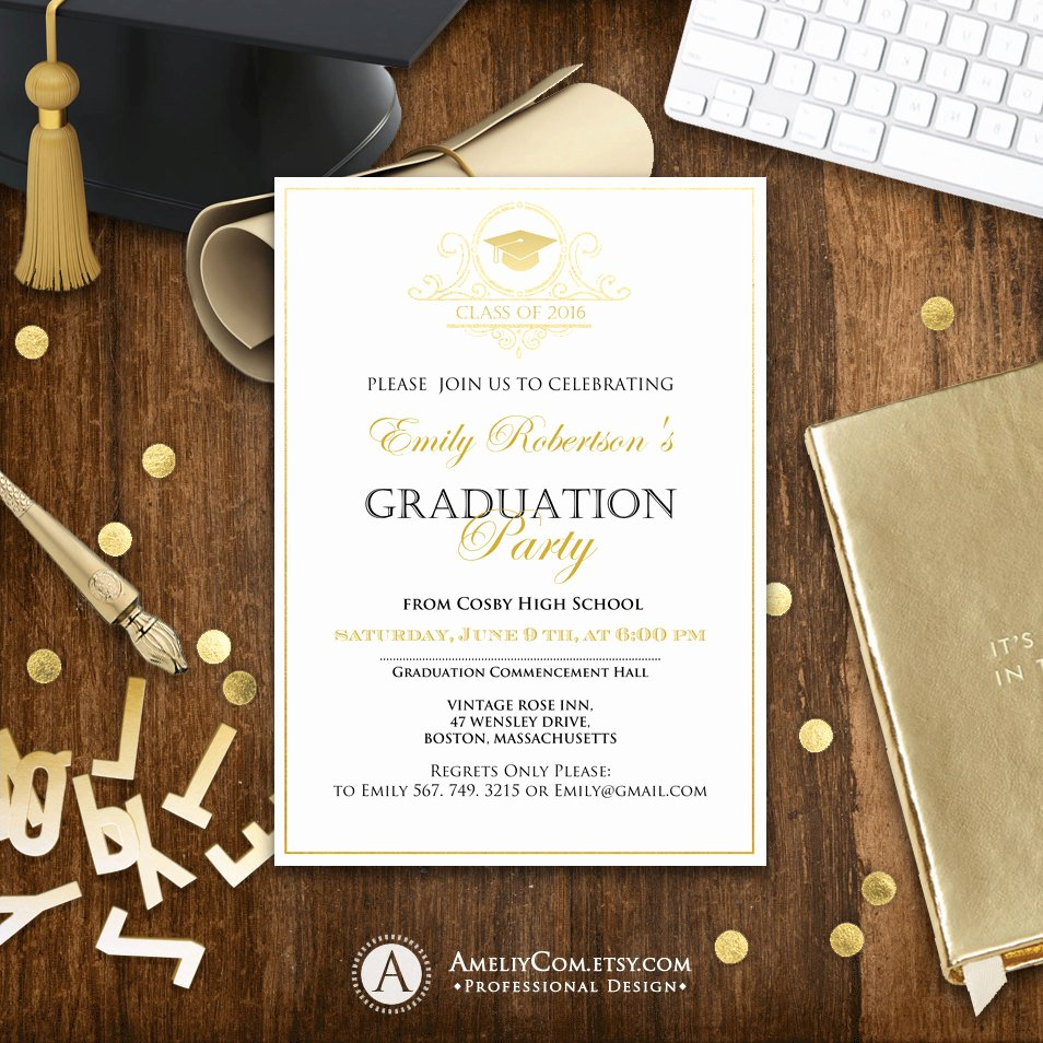 College Graduation Announcements Template Best Of Graduation Announcement Printable Gold College Graduation