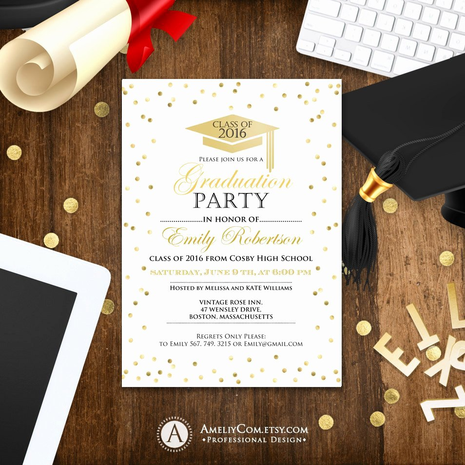 College Graduation Announcements Template Inspirational Graduation Invitation Template Printable Gold Confetti Girl