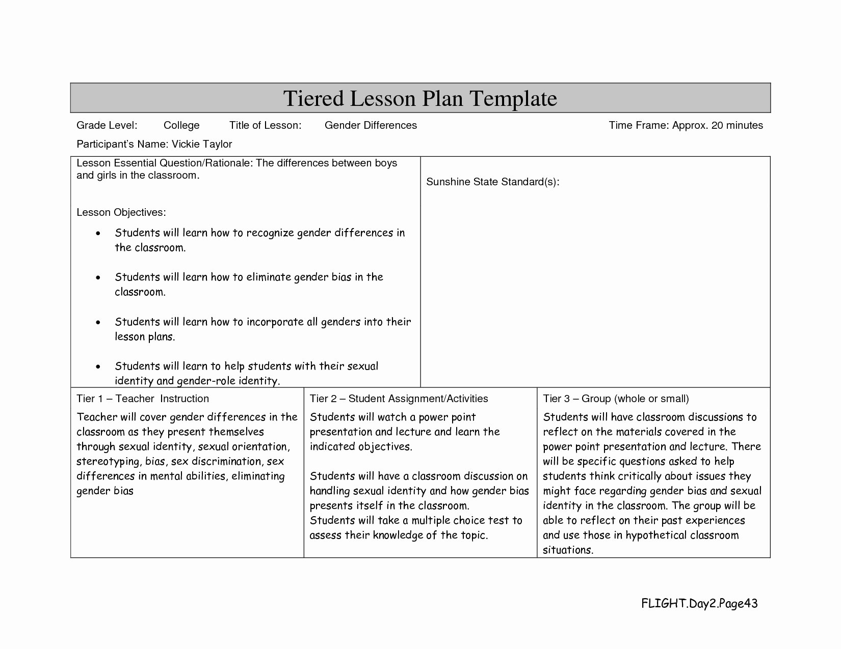College Lesson Plan Template Elegant Lesson Plan Template College Level