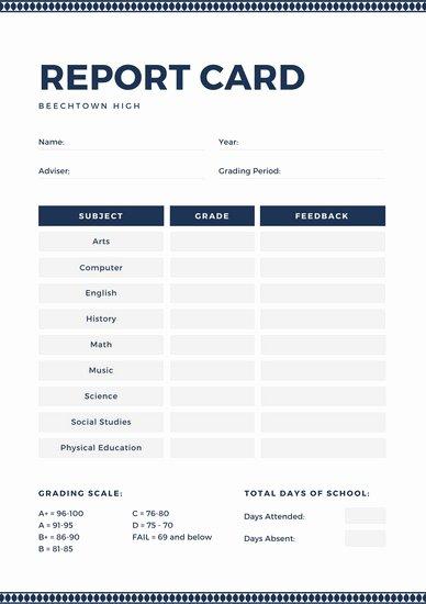 College Report Card Template Inspirational Customize 700 High School Report Card Templates Online