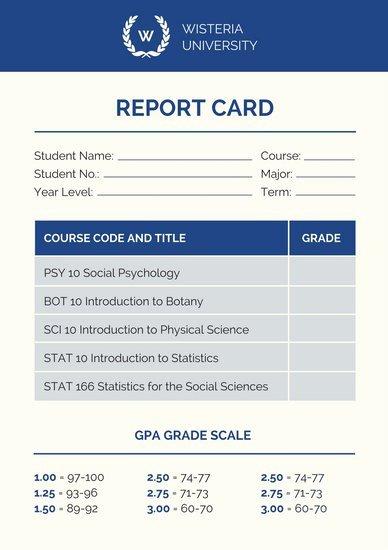 College Report Card Template Unique College Poster Templates Canva