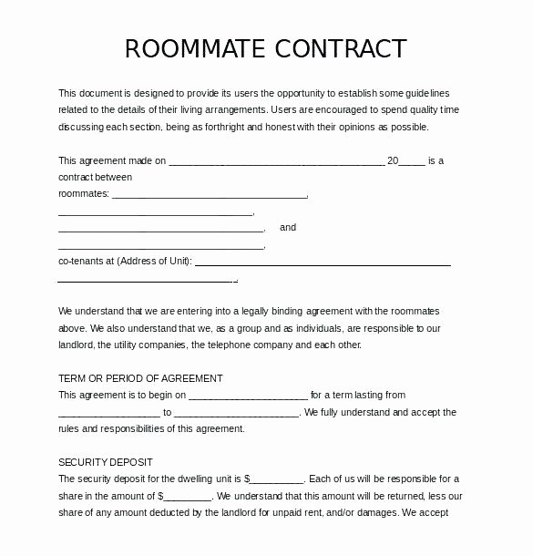 College Roommate Agreement Template Awesome Room for Rent Rental Agreement forms form New Free