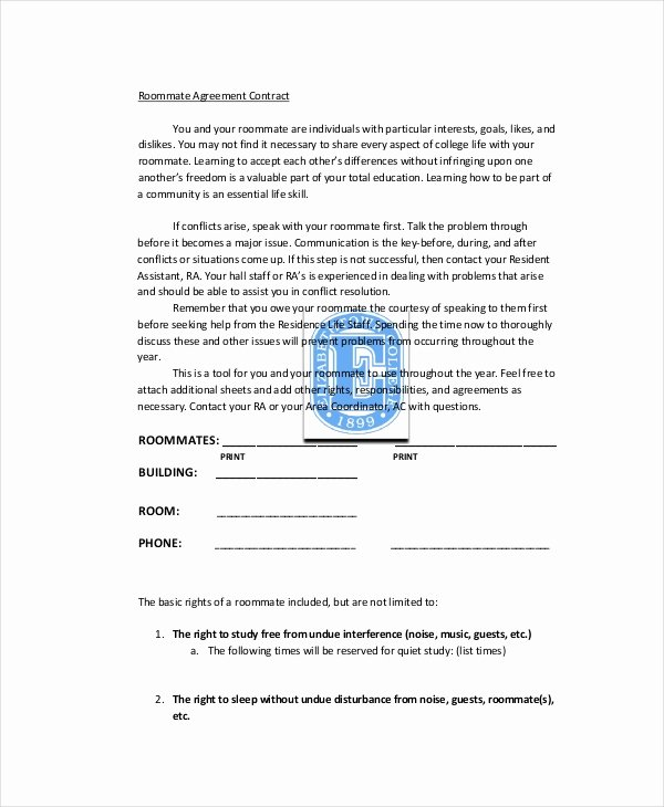College Roommate Agreement Template Awesome Roommate Agreement 13 Free Pdf Word Documents Download