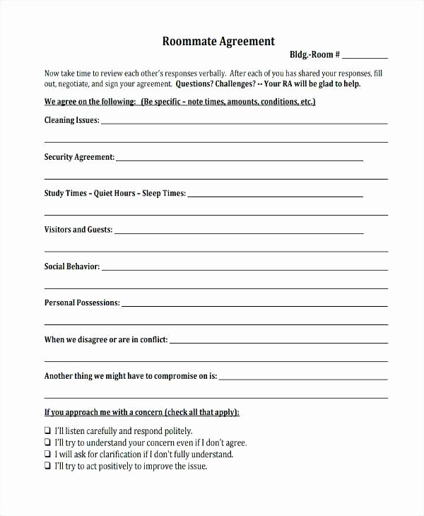 College Roommate Agreement Template Beautiful Best Roommate Ideas Contracts Template College