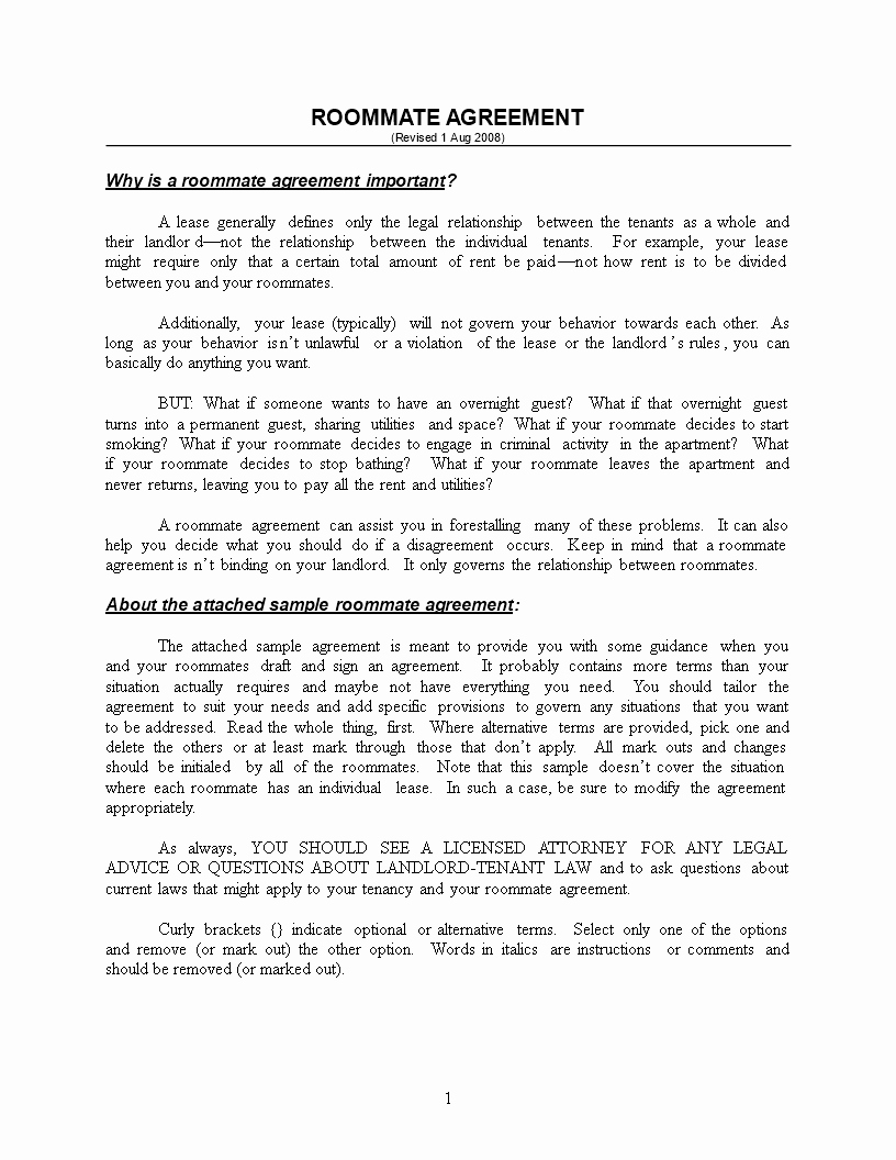College Roommate Agreement Template Best Of Free College Roommate Contract