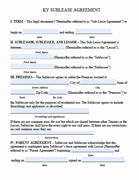 College Roommate Agreement Template Inspirational Free Kentucky Sublease Roommate Agreement form – Pdf Template