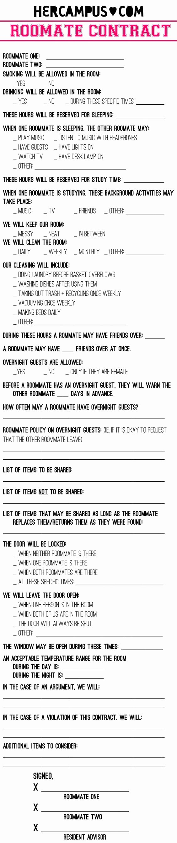 College Roommate Agreement Template New Funny Contracts Reverse Search