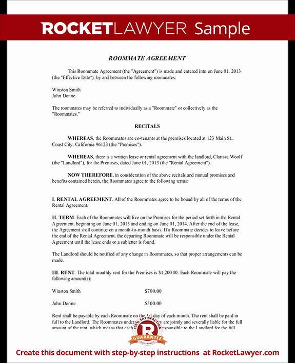 College Roommate Agreement Template New Roommate Agreement Template Free form with Sample