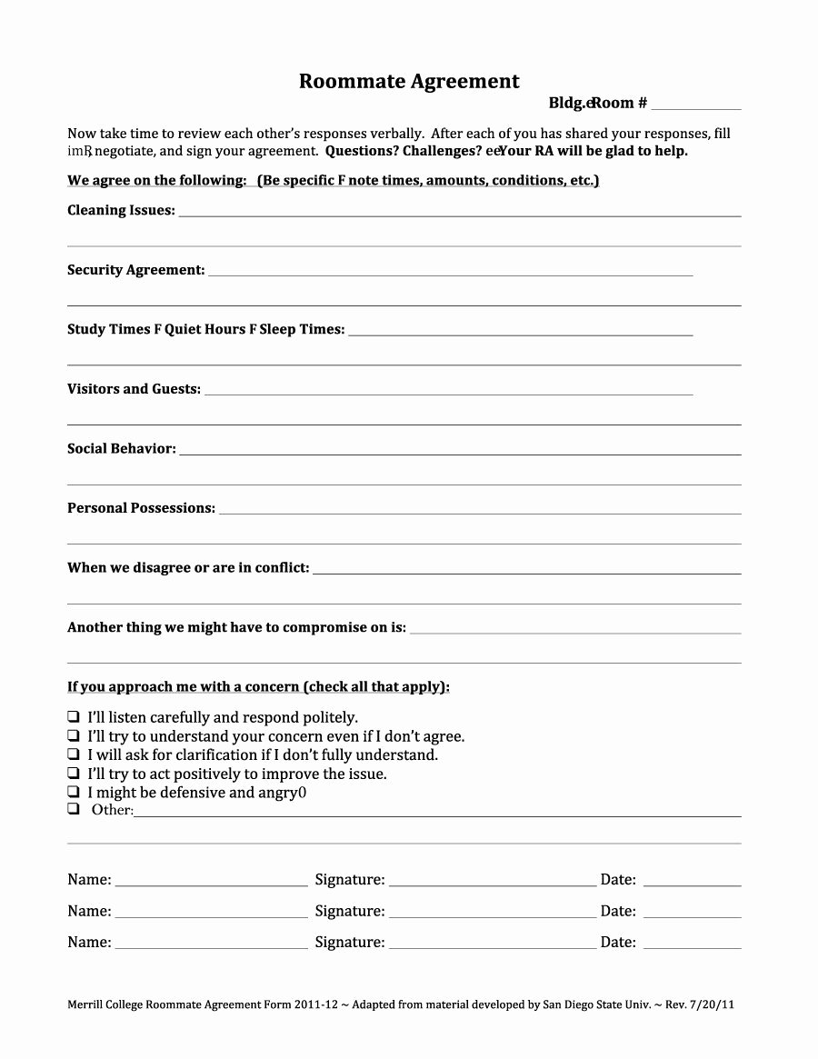 College Roommate Agreement Template Unique 40 Free Roommate Agreement Templates & forms Word Pdf