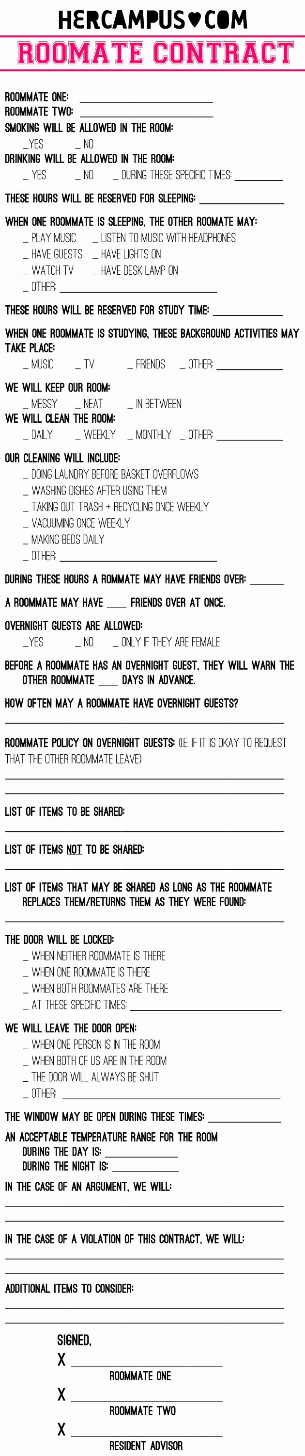 College Roommate Agreement Template Unique Roommate Agreements
