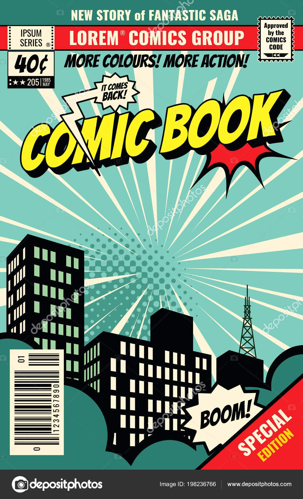 Comic Book Cover Template Awesome Retro Magazine Cover Vintage Ic Book Vector Template