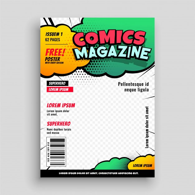 Comic Book Cover Template Beautiful Ic Book Cover Page Template Design Vector