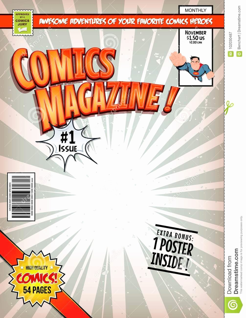 Comic Book Cover Template Best Of Ic Book Cover Template Stock Vector Illustration Of