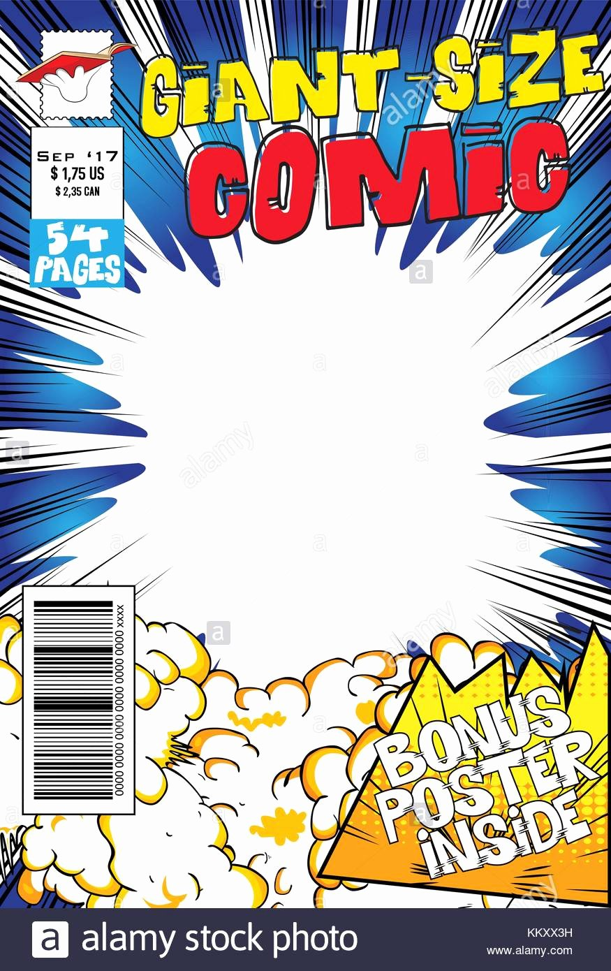 Comic Book Cover Template Elegant Editable Ic Book Cover with Blank Explosion Background