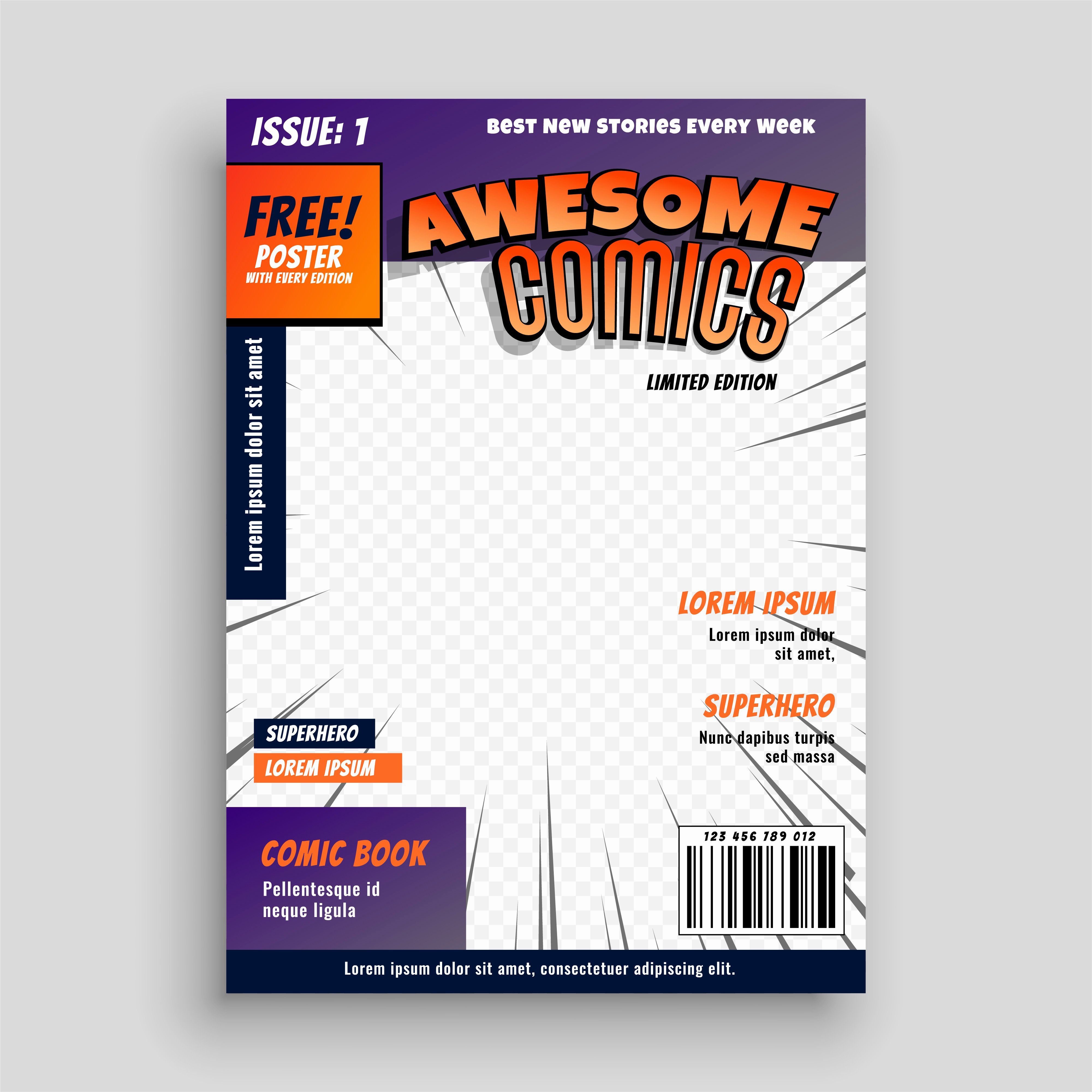 Comic Book Cover Template Elegant Stylish Ic Book Cover Page Design Template Download