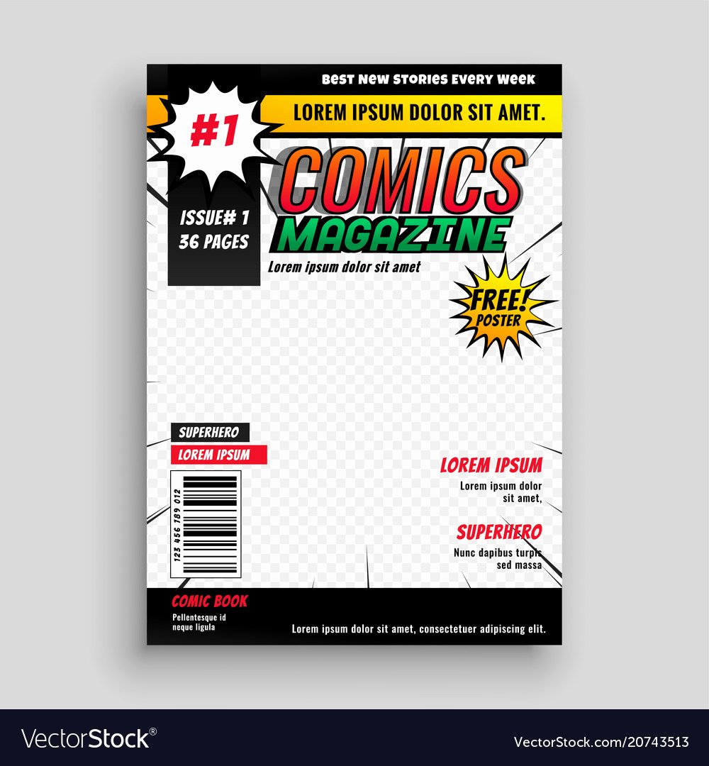 Comic Book Cover Template Inspirational Ic Magazine Book Cover Template Design Vector Image