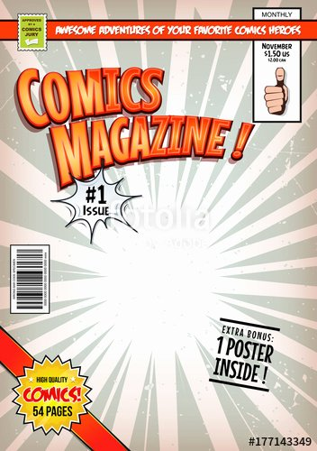 """Comic Book Cover Template Lovely """" Ic Book Cover Template Illustration Of A Cartoon"""