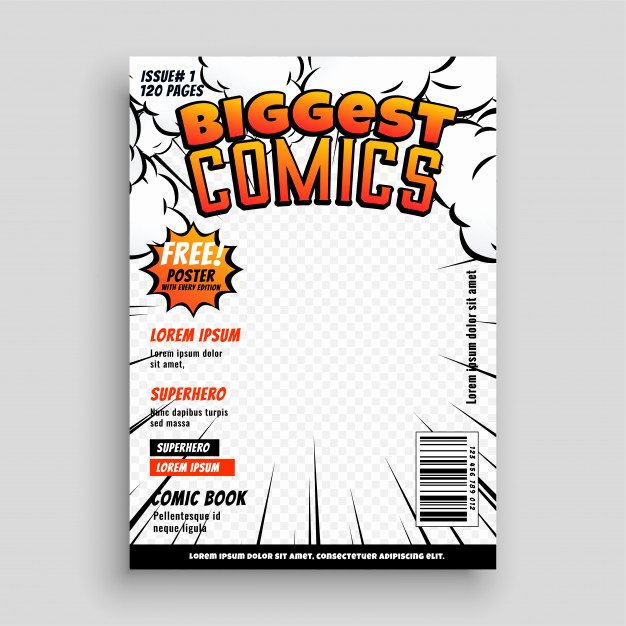 Comic Book Cover Template New Ic Cover Template Design Layout Vector