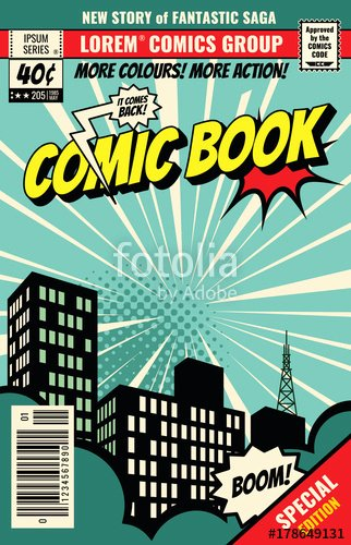 """Comic Book Cover Template New """"retro Magazine Cover Vintage Ic Book Vector Template"""