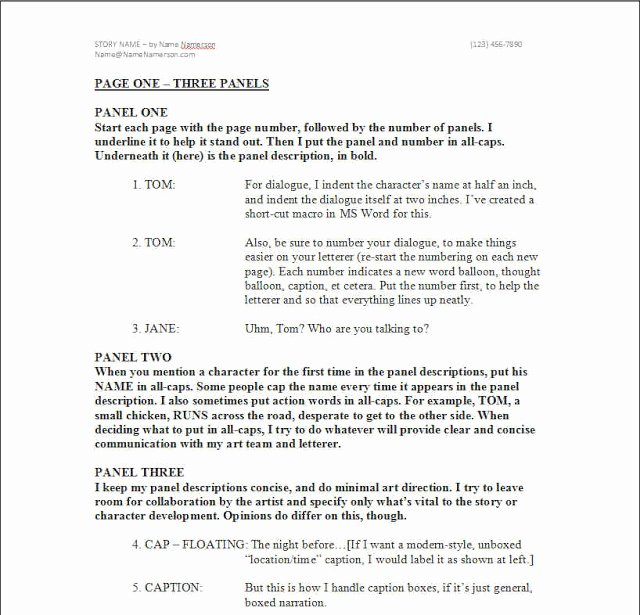 Comic Book Script Template Fresh Kenny Porter How to Easily format A Ic Book Script