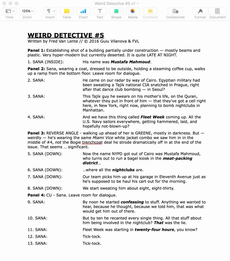 Comic Book Script Template Inspirational Fred Van Lente How I Write Ix