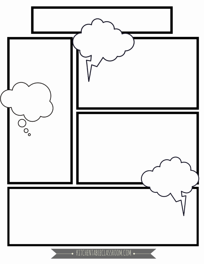 Comic Book Strips Template New Ic Book Templates Free Printable Pages the Kitchen