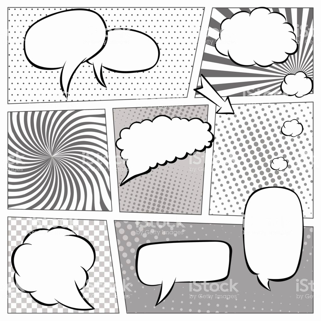 Comic Book Template Photoshop Elegant Ic Book Page Template with Halftone Effect and Speech