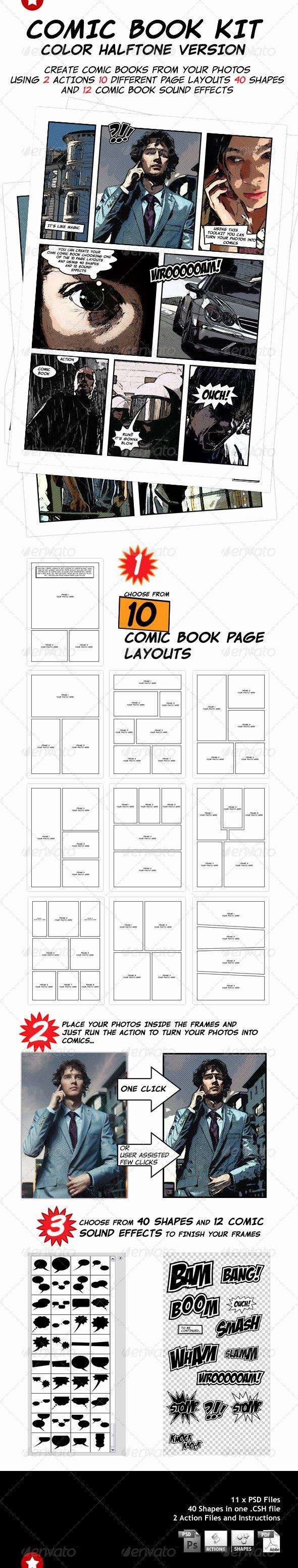 Comic Book Template Photoshop Fresh 300 Shop Effects Templates Best Designers
