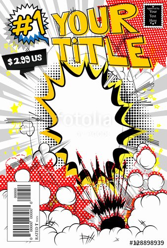 "Comic Book Template Photoshop Unique ""editable Ic Book Cover Template Customizable Title"