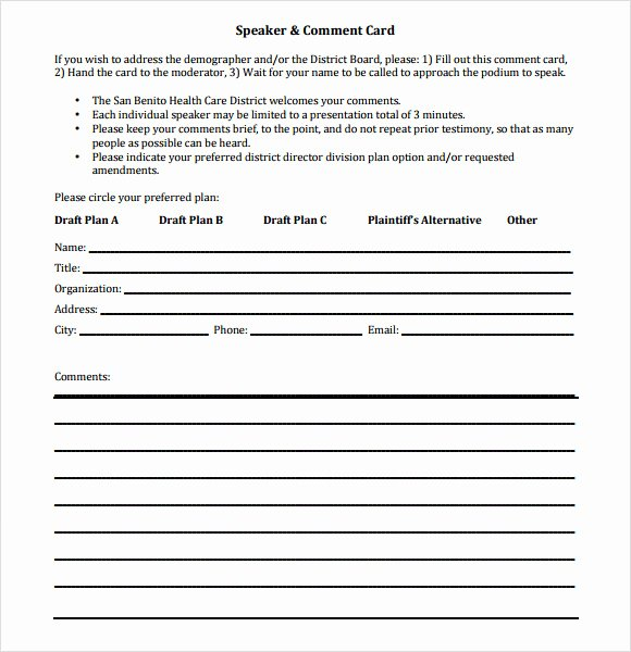 Comment Card Template Word Best Of 11 Ment Cards Pdf Word Adobe Portable Documents