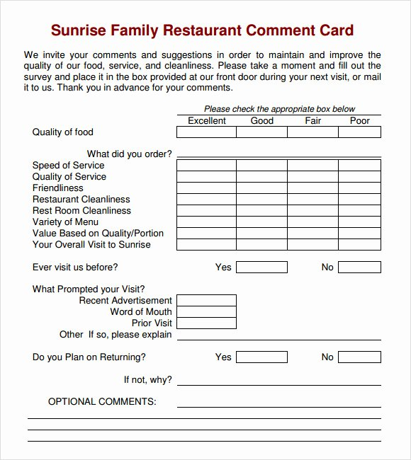 Comment Card Template Word Elegant 11 Ment Cards Pdf Word Adobe Portable Documents