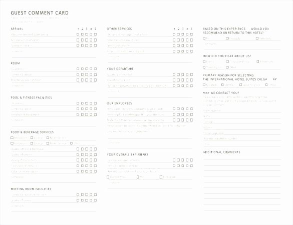 Comment Card Template Word Inspirational Template Feedback form Word Template Ment Card Free
