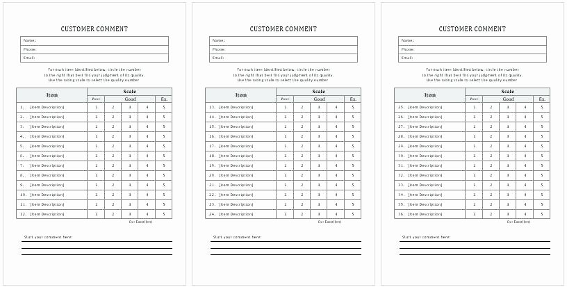 Comment Card Template Word Lovely Customer Ment Cards Templates Ms Word Excel Restaurant