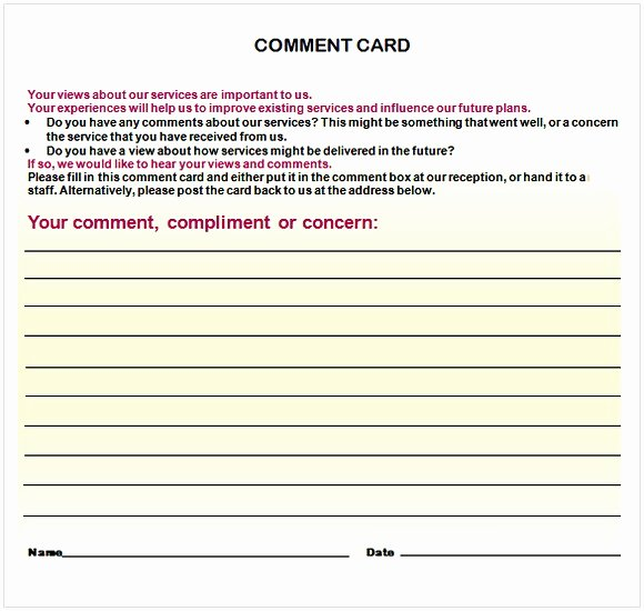Comment Card Template Word Luxury Ment Card Template