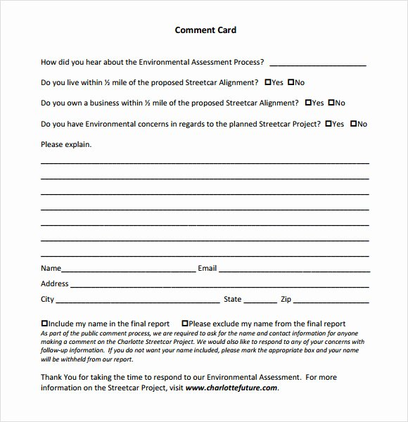 Comment Card Template Word New Ment Card Template 9 Download Free Documents In Pdf