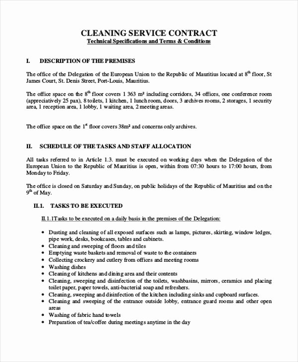 Commercial Cleaning Contract Template Best Of 13 Sample Cleaning Contract Agreement Templates Word Docs