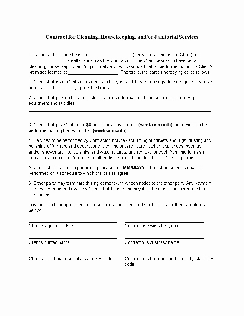 Commercial Cleaning Contract Template Fresh Free Cleaning Contract