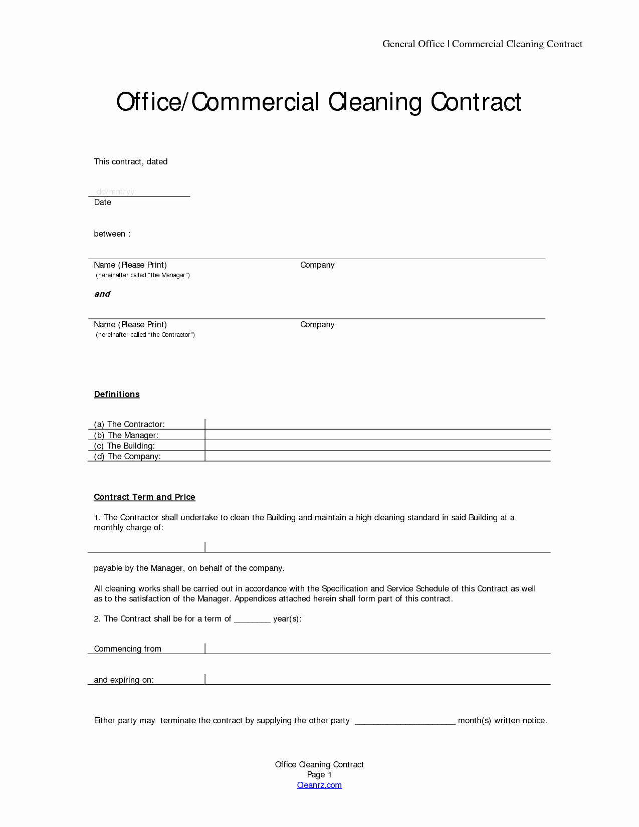 Commercial Cleaning Contract Template Luxury Basic Service Contract Mughals