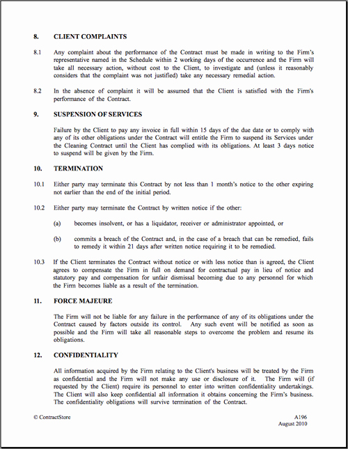 Commercial Cleaning Contract Template Luxury Cleaning Contract Agreement Free Printable Documents