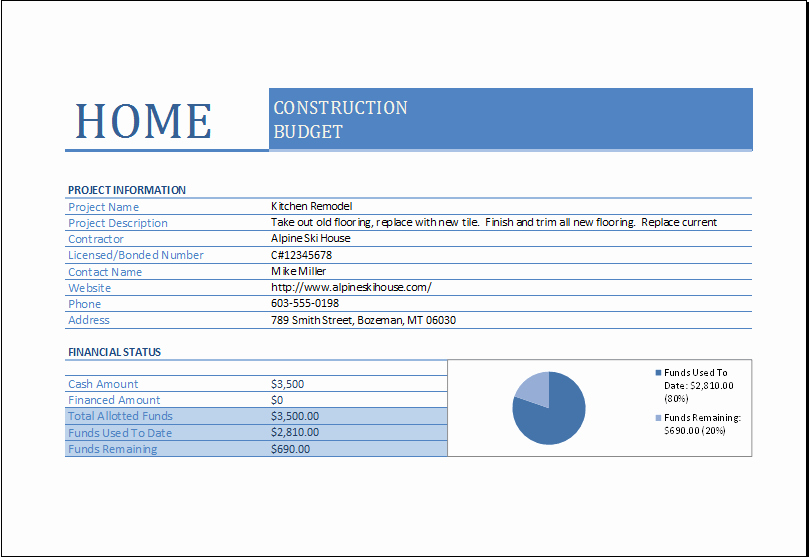 Commercial Construction Budget Template New Home Construction Bud Worksheet for Excel