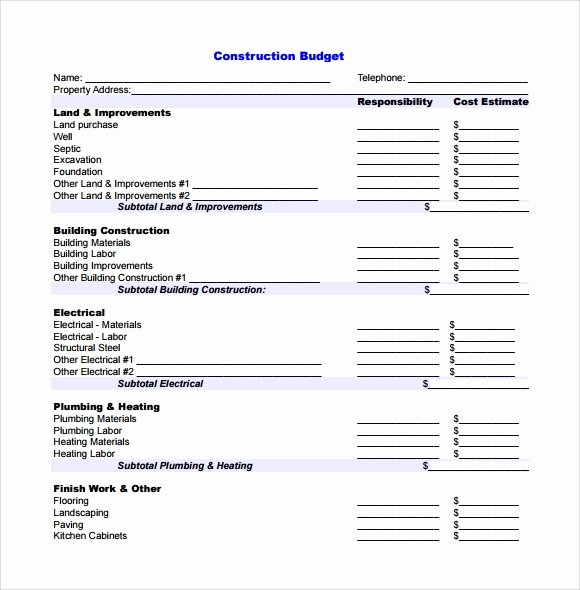 Commercial Construction Budget Template Unique 8 Construction Bud Samples Examples Templates